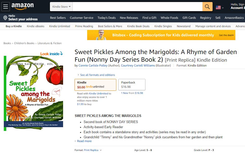 Kindle Ebook - Sweet Pickles Among the Marigolds - now available